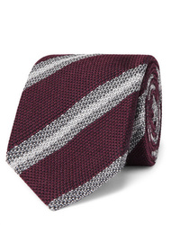 Мужской темно-красный галстук в горизонтальную полоску от Brioni