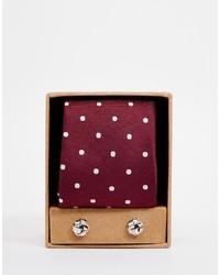 Мужской темно-красный галстук в горошек от Asos