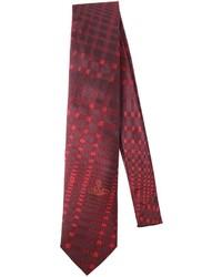 Темно-красный галстук в шотландскую клетку