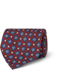 Мужской темно-красный галстук с принтом