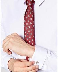 Мужской темно-красный галстук с принтом от Asos
