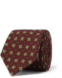 Мужской темно-красный галстук с принтом от Drakes