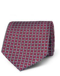 Мужской темно-красный галстук с принтом от Ermenegildo Zegna