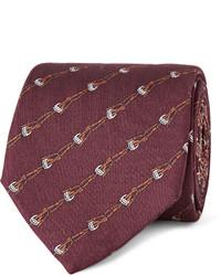 Мужской темно-красный галстук с принтом от Gucci