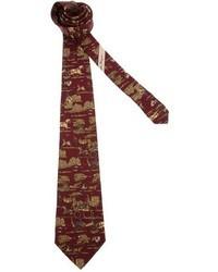 Мужской темно-красный галстук с принтом от Salvatore Ferragamo