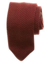 """Темно-красный галстук с узором """"в ёлочку"""""""