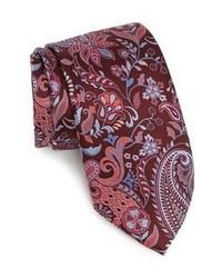 Темно-красный галстук с цветочным принтом