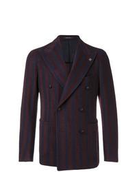 Темно-красный двубортный пиджак в вертикальную полоску