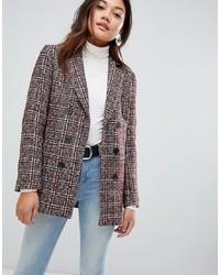 Женский темно-красный двубортный пиджак в клетку от New Look