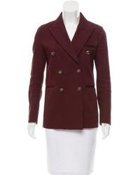 Темно-красный двубортный пиджак