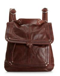 Темно-красный кожаный рюкзак