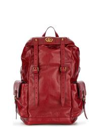 Мужской темно-красный кожаный рюкзак от Gucci