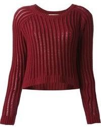 Темно-красный короткий свитер