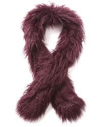 Темно-красный меховой шарф