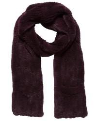 Женский темно-красный меховой шарф