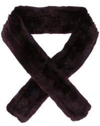 Женский темно-красный меховой шарф от Yves Salomon