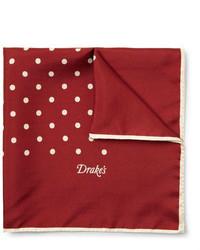 Темно-красный нагрудный платок в горошек
