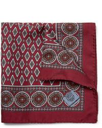Темно-красный нагрудный платок с принтом