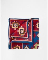 Темно-красный нагрудный платок с принтом от Asos