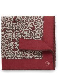 Темно-красный нагрудный платок с принтом от Canali