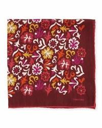 Темно-красный нагрудный платок с цветочным принтом