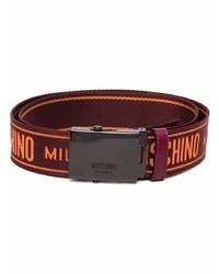 Мужской темно-красный ремень из плотной ткани от Moschino