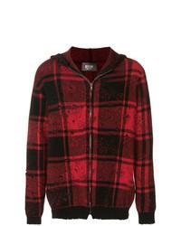 Темно-красный свитер на молнии в клетку