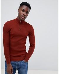 Мужской темно-красный свитер с воротником на молнии от ASOS DESIGN