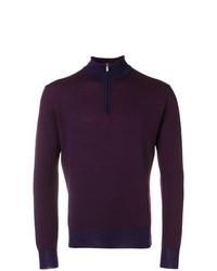 Мужской темно-красный свитер с воротником на молнии от Canali
