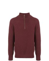 Мужской темно-красный свитер с воротником на молнии от Closed