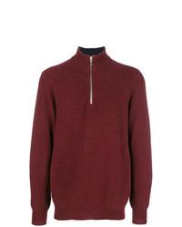 Мужской темно-красный свитер с воротником на молнии от N.Peal