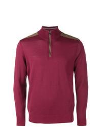Мужской темно-красный свитер с воротником на молнии от Paul & Shark