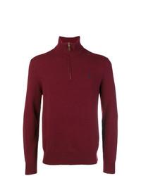 Мужской темно-красный свитер с воротником на молнии от Polo Ralph Lauren