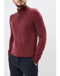 Темно-красный свитер с воротником на пуговицах от Kensington Eastside