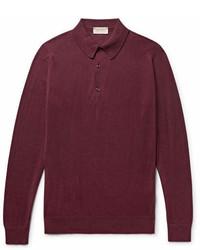 Темно-красный свитер с воротником поло