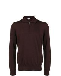 Мужской темно-красный свитер с воротником поло от Brioni