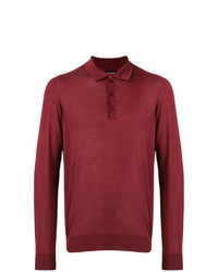 Мужской темно-красный свитер с воротником поло от Giorgio Armani
