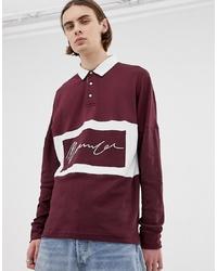 Мужской темно-красный свитер с воротником поло от Mennace