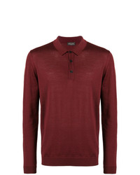 Мужской темно-красный свитер с воротником поло от Roberto Collina