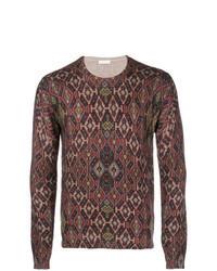 Темно-красный свитер с круглым вырезом с жаккардовым узором