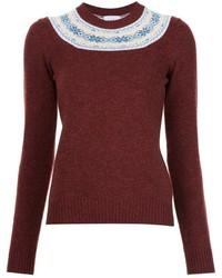 Темно-красный свитер с круглым вырезом с принтом