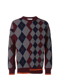 Темно-красный свитер с круглым вырезом с ромбами