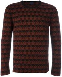 Темно-красный свитер с круглым вырезом с узором зигзаг