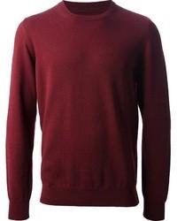 Темно-красный свитер с круглым вырезом