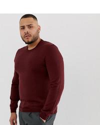 Мужской темно-красный свитер с круглым вырезом от ASOS DESIGN