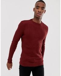 Мужской темно-красный свитер с круглым вырезом от Bershka