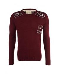 Мужской темно-красный свитер с круглым вырезом от Brave Soul