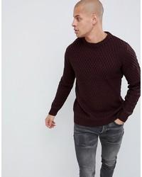 Мужской темно-красный свитер с круглым вырезом от Burton Menswear