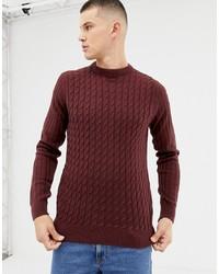 Мужской темно-красный свитер с круглым вырезом от New Look