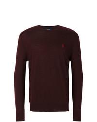 Мужской темно-красный свитер с круглым вырезом от Polo Ralph Lauren